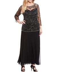 Pisarro Nights - Plus Size Beaded Bodice A-line Gown - Lyst