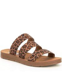 2d3c70726af Steve Madden - Pascale Leopard Print Elastic Strap Sandals - Lyst