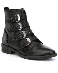Steve Madden - Pursue Leather Studded Booties - Lyst