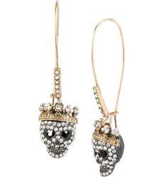 Betsey Johnson - Pavé Skull Long Drop Earrings - Lyst