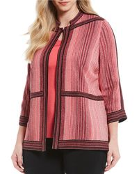 Ming Wang - Plus Size Jewel Neck Texture Jacket - Lyst