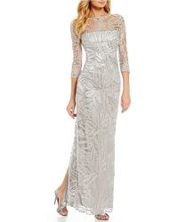 Tahari | Sequin Embroidered 3/4 Sleeve Gown | Lyst