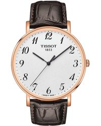 Tissot - Everytime Men's Brown Leather Strap Gold Watch - Lyst