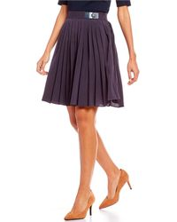 Jones New York - Pleated Belted A-line Skirt - Lyst