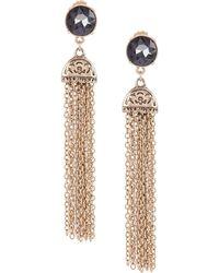 Belle By Badgley Mischka - Round Stone Chain Tassel Statement Earrings - Lyst