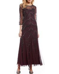 Lyst Adrianna Papell Strappy Sequin Beaded Godet Gown With Cut Out