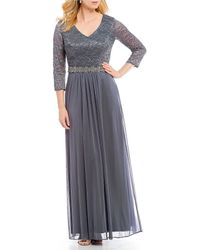 Alex Evenings - Long V-neck Lace Bodice Embellished Waist Chiffon Gown - Lyst