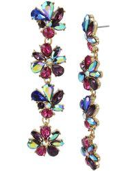 Betsey Johnson - Mixed Stone Flower Linear Statement Earrings - Lyst