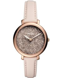 Fossil - Jacqueline Three-hand Pastel Pink Leather Strap Watch - Lyst