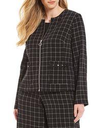 Jones New York - Plus Size Plaid Twill Zip Front Jacket - Lyst