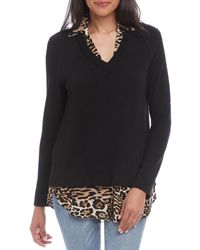 Karen Kane Layered Look Leopard Print Knit Crepe Sweater - Black