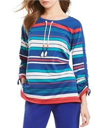 Ruby Rd. - Drawstring Neck Striped 3/4 Ruched Sleeve French Terry Pullover - Lyst