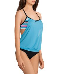 ca967396c2a90 Lyst - Nike Plus Double Up Layered Sport Tankini Swimsuit Top in Black