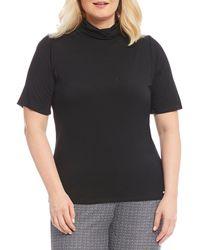 MICHAEL Michael Kors - Plus Knit Jersey Short Sleeve Turtleneck Top - Lyst