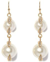 Vince Camuto - Pav Pearl Double Drop Earrings - Lyst