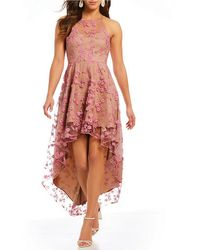 Belle By Badgley Mischka - Floral High Low Dress - Lyst