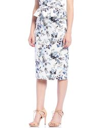 03b323e86e Antonio Melani - Gianna Floral Print Sateen High Waist Pencil Skirt - Lyst