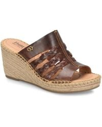 a20c6cc9acb1 Born - Pinal Leather Espadrille Wrapped Wedge Slides - Lyst