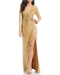 bd0b85a369b26 Lyst - Patra Sleeveless Metallic Lace Gown and Jacket in Metallic