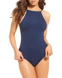 Roxy - Waves Only Ribbed High Neck One-piece - Lyst