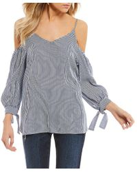 Soprano - Striped Cold Shoulder Tie-sleeve Top - Lyst