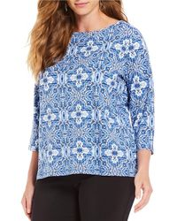 Ruby Rd. - Plus Size Embellished Boat-neck Geo Beading Print Knit Top - Lyst