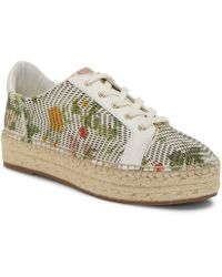 7dadafc9b7b Vince Camuto - Joellean Floral Print Perforated Leather Espadrille Sneakers  - Lyst