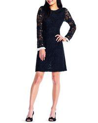 Adrianna Papell - Lace Sleeve Sheath Dress - Lyst