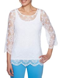 Ruby Rd. - Petites 3/4 Sleeve All-over Medallion Lace Top - Lyst