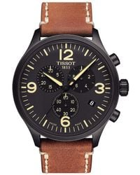 Tissot - T-sport Black Chrono Xl Chronograph & Date Leather-strap Watch - Lyst