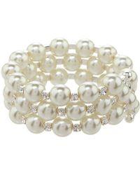 2bb11f0930377 Lyst - Givenchy Faux Pearl Crustal Station Bracelet in Metallic