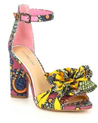 c345e953f5 Gianni Bini - Lorree Printed Flower Pom Sandals - Lyst