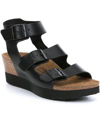 Birkenstock - Linnea Leather Cork Wedge Sandals - Lyst