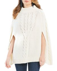 Draper James - Cable Knit Caped Wool Blend Sweater - Lyst