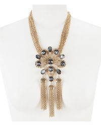Belle By Badgley Mischka - Multi Stone Tassel Pendant Statement Necklace - Lyst