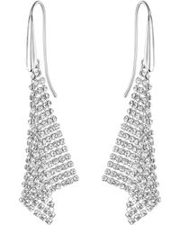 Swarovski Small Fit Silver Shade Mesh Statement Earrings - Metallic