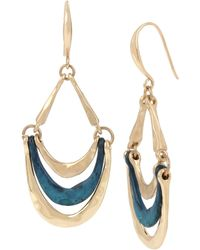 Robert Lee Morris - Patina & Gold Sculptural Multi Row Drop Earrings - Lyst
