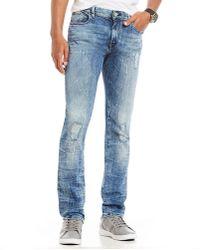 Armani Exchange - Slim-fit Bleach Splatter Distressed Stretch Jeans - Lyst