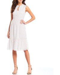 88a3d21ba0eb Beyond Vintage Swiss Dot Tulip Sleeve Dress in White - Lyst