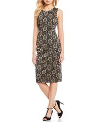 a26369cb09 Lyst - Ivanka Trump Velvet Trim Embroidered Floral Lace Sheath Dress ...