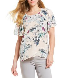 Ivanka Trump - Tropical Floral Print Flutter Sleeve Top - Lyst