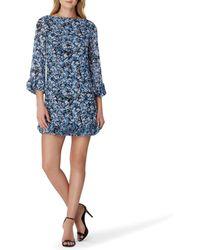b17a57a24f22 Tahari - Floral Print Ruffle Hem 3/4 Sleeve Shift Dress - Lyst