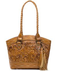 Patricia Nash - Burnished Tooled Collection Zorita Tasseled Colorblock Satchel - Lyst