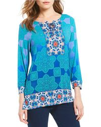 Ruby Rd | Petites 3/4 Sleeve Ombre Kaleidoscope Placement Print Knit Top | Lyst