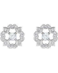 Swarovski - Sparkling Dance Flower Pierced Earrings - Lyst