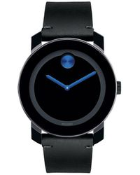 Movado Bold - Black Leather Strap Swiss Quartz Stainless Steel Analog Watch - Lyst