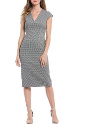 Antonio Melani Marilyn V-neck Cap Sleeve Houndstooth Dress - Black