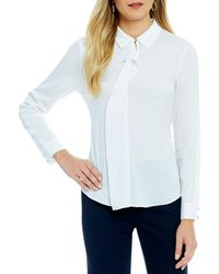 Ivanka Trump - Convertible Collar Ruffle Front Long Sleeve Blouse - Lyst