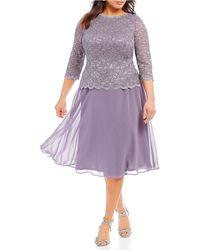 8480ff2fa9e31 Alex Evenings Mock 2-piece Lace Tea-length A-line Dress in Purple - Lyst