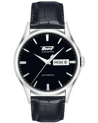 Tissot - Heritage Visodate Automatic Black Leather Strap Watch - Lyst